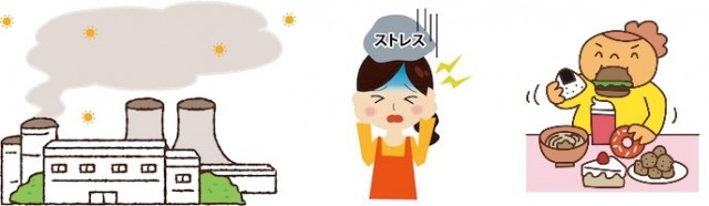 環境汚染、ストレス、食生活の変化